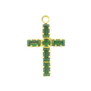 41205 - Swarovski 19x11mm Gold Plated Cross -  Emerald