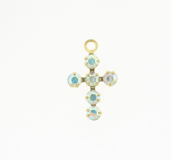 47206 - Swarovski 14x9mm Gold Plated Cross -  Crystal AB