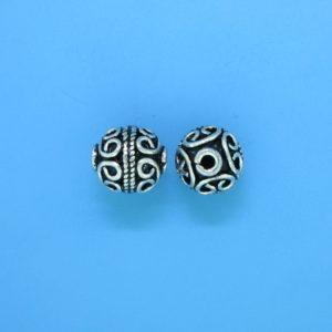 15049 - Bali Silver Round Bead 10.5x9mm