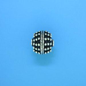 15057 - Bali Silver Round Bead 11x12.5mm