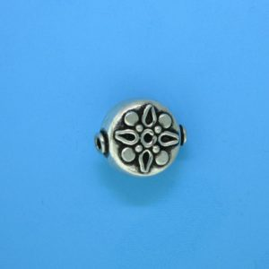 15072 - Bali Silver Flat Round Bead 14x13x8mm