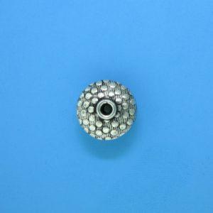 15073 - Bali Silver Flat Round Bead 12x7mm