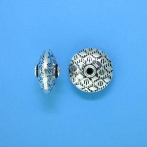 15104 - Bali Silver Flat Round Bead 13x7mm
