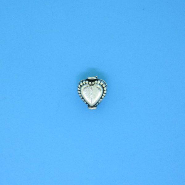 15135 - Bali Silver Heart Shape Bead 7x7mm
