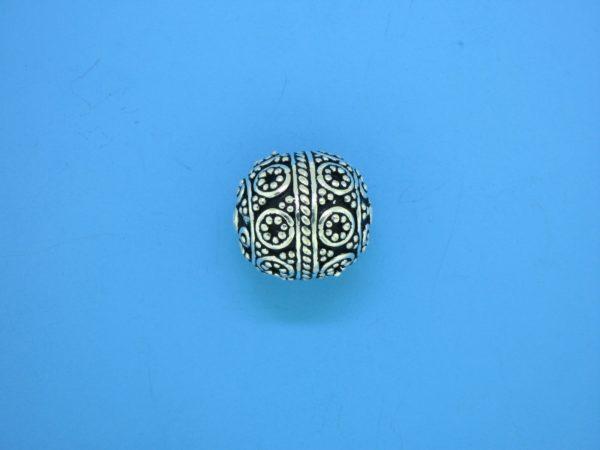 15461 - Bali Silver Round Bead 15x13mm