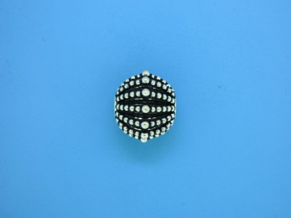 15462 - Bali Silver Round Bead 13x15mm