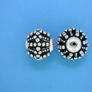15463 - Bali Silver Round Fancy Bead 15x16mm