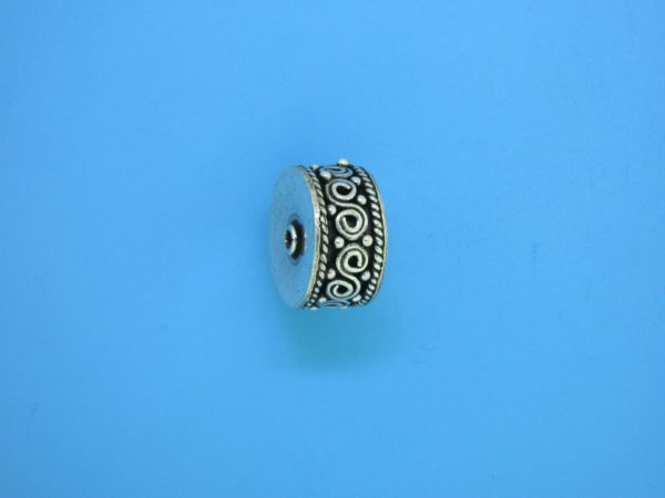 15467 - Bali Silver Cylindrical Bead 14x7mm