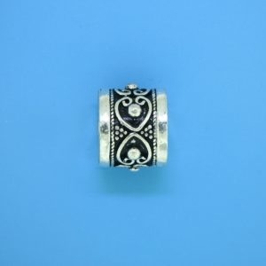 15468 - Bali Silver Cylindrical Bead 14x12mm