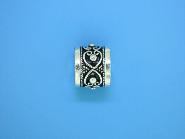 15468 - Bali Silver Cylindrical Bead 14x12mm