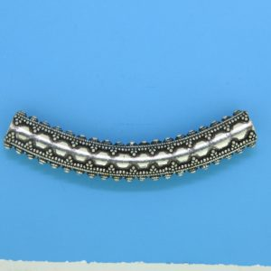 15488 - Bali Silver Curved Tube  52x6mm