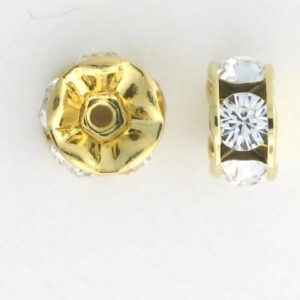 3604 - 4mm Swarovski Rhinestone Gold Plated Rondelle - Crystal