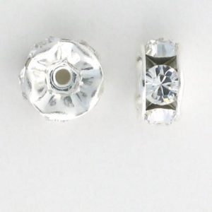 3604S - 4mm Swarovski Rhinestone Silver Plated Rondelle - Crystal
