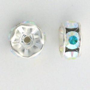 3604S - 4mm Swarovski Rhinestone Silver Plated Rondelle - Crystal AB
