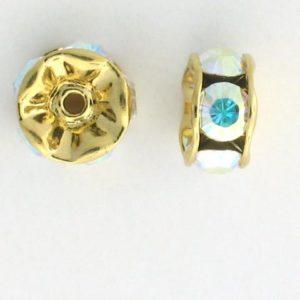 3604 - 4mm Swarovski Rhinestone Gold Plated Rondelle - Crystal AB