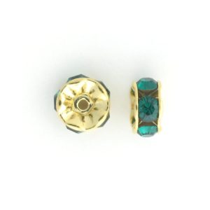 3606 - 6mm  Swarovski Rhinestone Gold Plated Rondelle - Emerald (6pcs.)