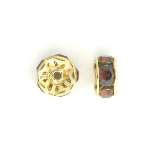 3606 - 6mm  Swarovski Rhinestone Gold Plated Rondelle - Smoked Topaz (6pcs.)