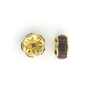3606 - 6mm  Swarovski Rhinestone Gold Plated Rondelle - Siam (6pcs.)