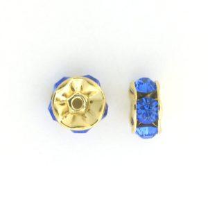 3606 - 6mm  Swarovski Rhinestone Gold Plated Rondelle - Sapphire (6pcs.)