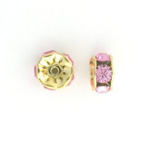 3606 - 6mm  Swarovski Rhinestone Gold Plated Rondelle - Light Rose (6pcs.)