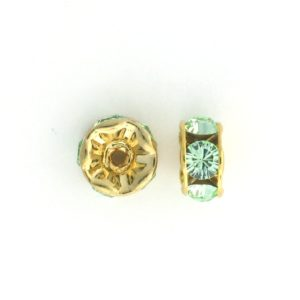 3606 - 6mm  Swarovski Rhinestone Gold Plated Rondelle - Chrysolite (6pcs.)