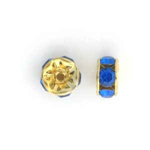 3606 - 6mm  Swarovski Rhinestone Gold Plated Rondelle - Capri Blue (6pcs.)