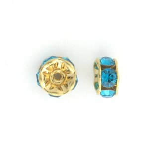 3606 - 6mm  Swarovski Rhinestone Gold Plated Rondelle - Blue Zircon (6pcs.)