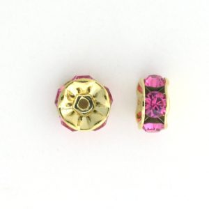 3606 - 6mm  Swarovski Rhinestone Gold Plated Rondelle - Rose (6pcs.)