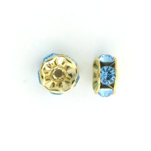 3606 - 6mm  Swarovski Rhinestone Gold Plated Rondelle - Aquamarine (6pcs.)