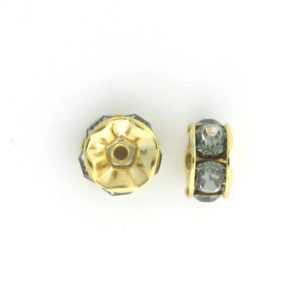 3606 - 6mm  Swarovski Rhinestone Gold Plated Rondelle - Black Diamond (6pcs.)