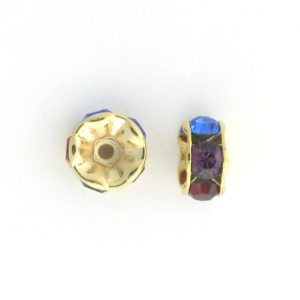 3606 - 6mm  Swarovski Rhinestone Gold Plated Rondelle - Dark Multi (6pcs.)