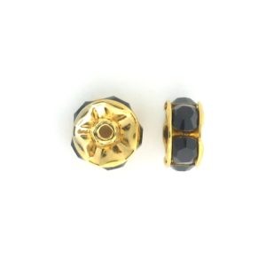 3606 - 6mm  Swarovski Rhinestone Gold Plated Rondelle - Garnet (6pcs.)