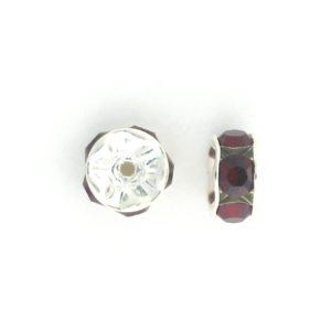3606S - 6mm Swarovski Rhinestone Silver Plated Rondelle - Siam (6pcs.)