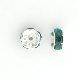 3606S - 6mm Swarovski Rhinestone Silver Plated Rondelle - Emerald (6pcs.)