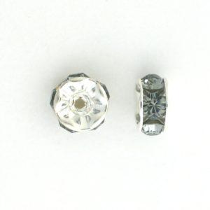 3606S - 6mm Swarovski Rhinestone Silver Plated Rondelle - Black Diamond (6pcs.)