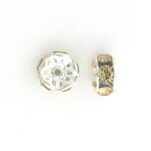 3606S - 6mm Swarovski Rhinestone Silver Plated Rondelle - Lt.Col.Topaz (6pcs.)