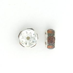 3606S - 6mm Swarovski Rhinestone Silver Plated Rondelle - Smoked Topaz (6pcs.)