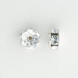 3606S - 6mm Swarovski Rhinestone Silver Plated Rondelle - Crystal (6pcs.)