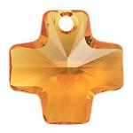 # 6866 - 20mm Swarovski Cross Pendant - Topaz