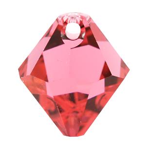 # 6301 - 6mm Swarovski Top Hole Bicone Pendant- Indian Pink