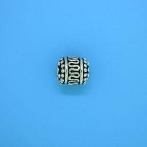 15217 - Bali Silver Cylindrical Bead 9x9mm
