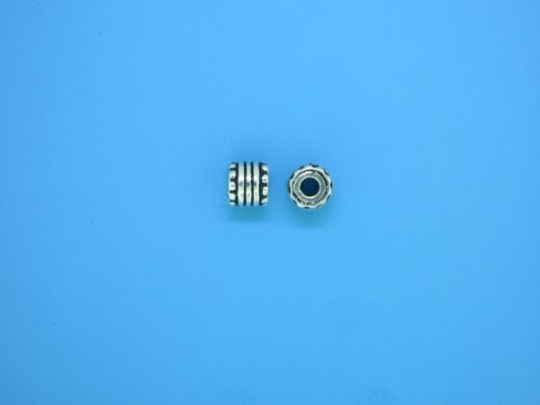 15226 - Bali Silver Cylindrical Bead 6x6mm