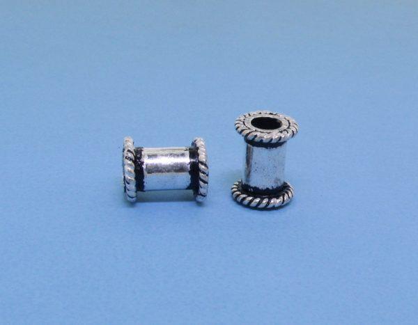 15229 - Bali Silver Cylindrical Bead 6x8mm