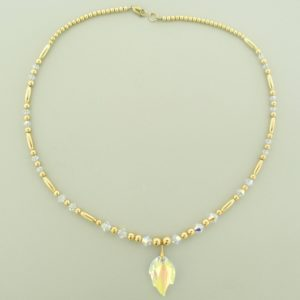 #12026  14K Gold Filled Necklace With Swarovski Leaf Pendant - Crystal AB