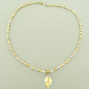#12026  14K Gold Filled Necklace With Swarovski Leaf Pendant - Crystal AB