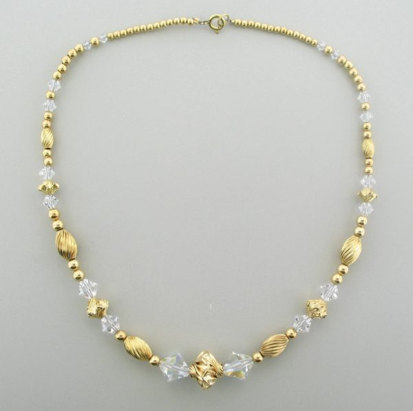 #12025  Gold Filled Necklace With Swarovski Bicone - Crystal AB
