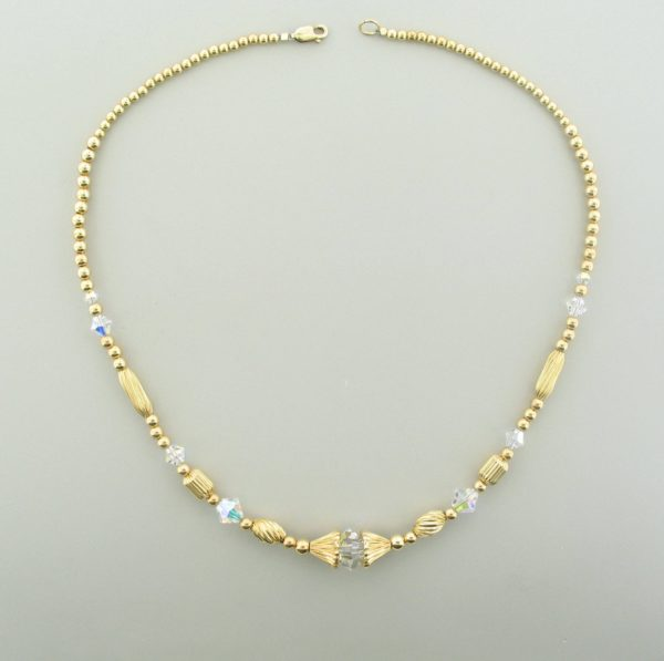 #12029  14K Gold Filled Necklace With Swarovski Bicone - Crystal AB
