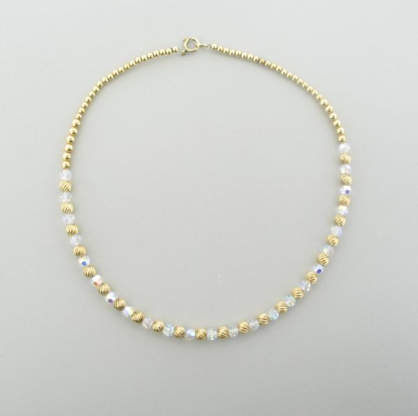 #12033 - Gold Filled Necklace With Swarovski Round Crystal AB