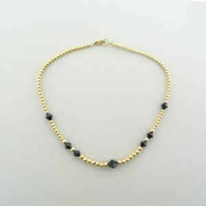#12040 - Gold Filled Necklace With Swarovski Bicone Crystal - Jet