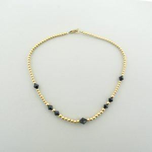#12040 - Gold Filled Necklace With Swarovski Bicone Crystal - Jet